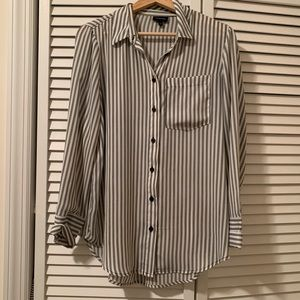 Worn Once Who What Wear striped work blouse!